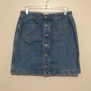 LOFT Outlet Petite Denim Button Down Jean Skirt